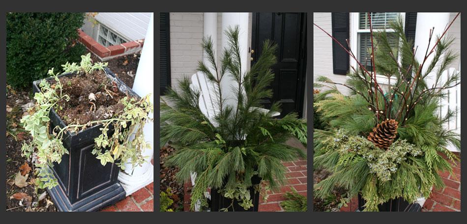 Christmas Planters Diy.Diy Christmas Foliage Decor Ri Landscaper 855rilawns