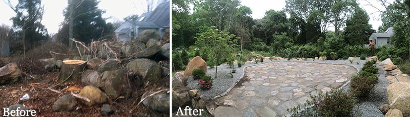 Natural Stone Patio: Before and After