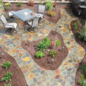 Multi-colored natural stone paver patio